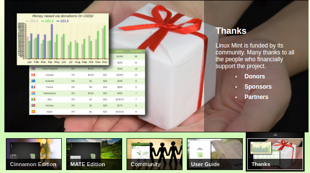 An area on the Linux Mint home page