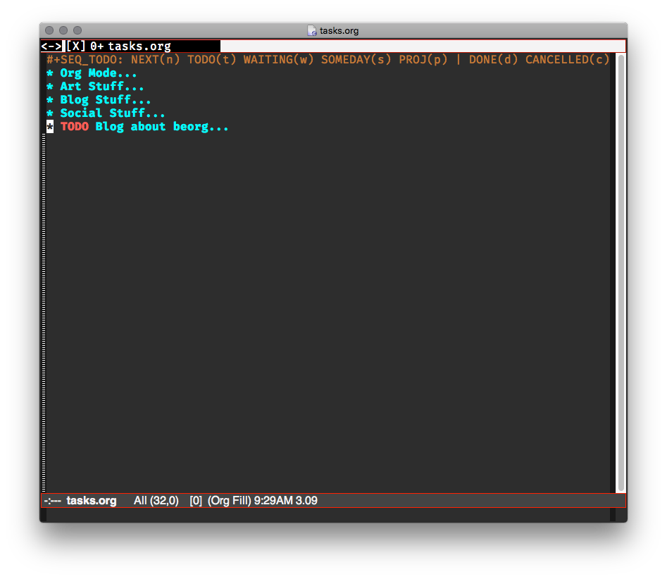 Emacs showing task added in beorg