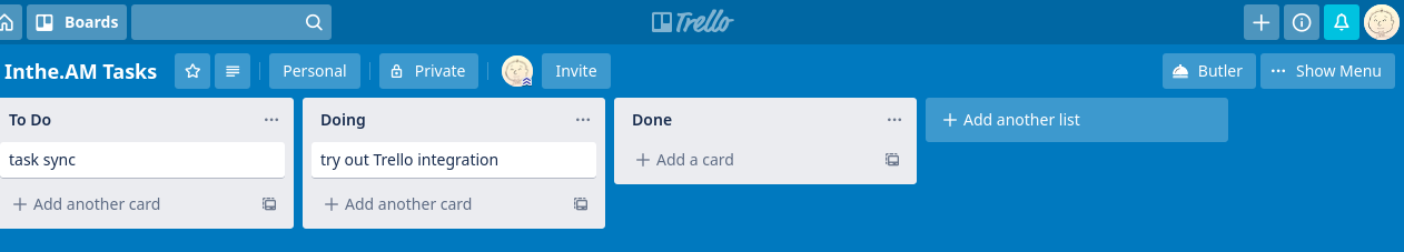 Trello showing my active tasks
